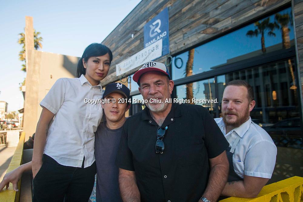 From left to right Chloe Tran, John Cao, Paul Hibler and Jason Neroni. Paul Hibler, of Pitfire Pizza, is helping young entrepreneurs build up restaurants.  (Photo by Ringo Chiu/PHOTOFORMULA.com)