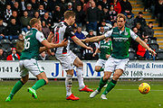Cammy Smith of St Mirren under pressure from Steven Whittaker of Hibernian FC during the Ladbrokes Scottish Premiership match between St Mirren and Hibernian at the Simple Digital Arena, Paisley, Scotland on 29th September 2018.