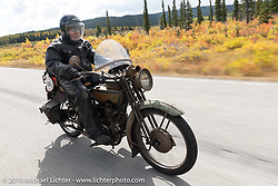 Dave Volnek riding his 1915 Indian in the Jim Miner riding his 1918 Harley-Davidson model J Motorcycle Cannonball coast to coast vintage run. Stage 12 (242 miles) from Great Falls to Kalispell, MT. Thursday September 20, 2018. Photography ©2018 Michael Lichter.