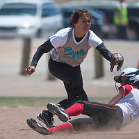 011113      Cayla Nimmo<br /> <br /> Navajo Prep Eagle Alisha Kirk (6) catches the ball at second base during the State Championship Softball game against Eunice High held in Rio Rancho Wednesday.<br /> <br /> 05/14/14