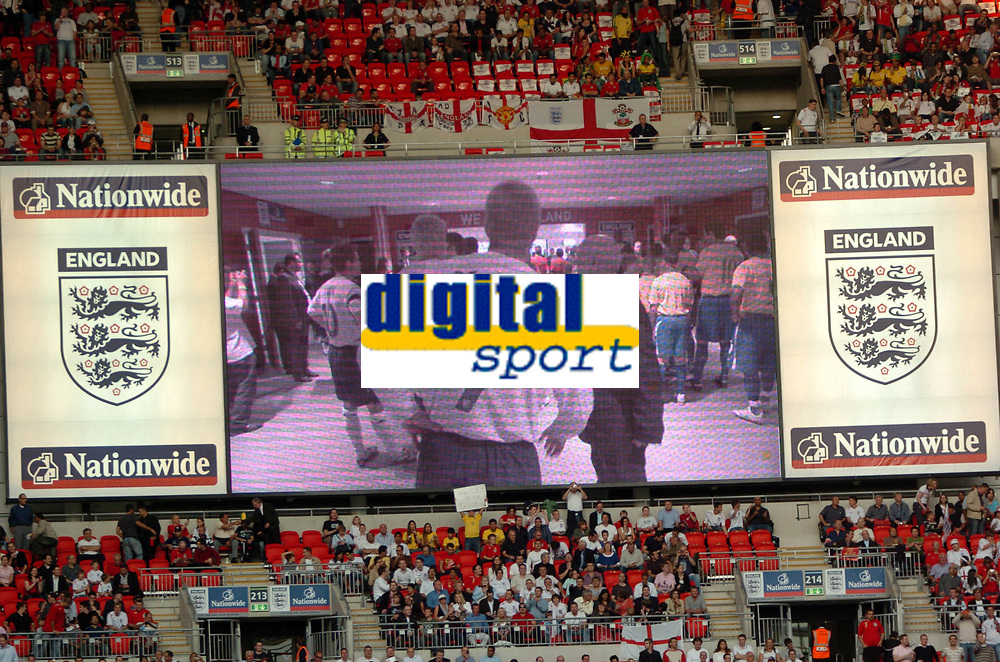 Photo: Tony Oudot.<br /> England v Brazil. International Friendly. 01/06/2007.<br /> David Beckham of England is shown in the tunnel on the big screen