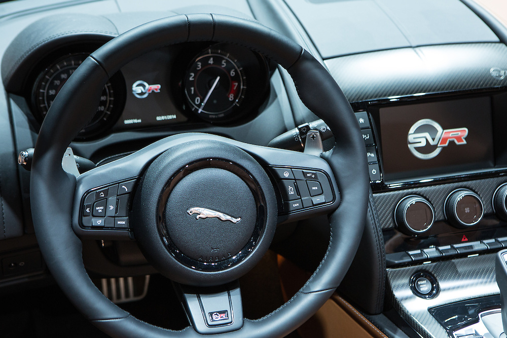 New York, NY, USA-23 March 2016. The cockpit of the Jaguar F-Type SVR, which boasts a 575hp V8 engine, and with a starting price of $125,950.