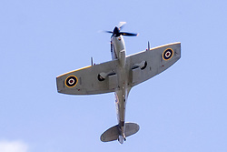 Cleethorpes 2015 flypast <br /> Spitfire Mk XVI TE311, from the RAF Battle of Britain Memorial Flight fleet, is a low-back/bubble-canopy Spitfire with 'clipped' wingtips. The classic elliptical wingtips were replaced by shorter, squared-off fairings to substantially enhance the roll rate, closing the gap between the Spitfire and the Focke-Wulf Fw 190