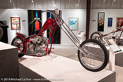 Georgia based custom bike builder Freddie Arnold's Harmans Way custom 1957 Harley-Davidson Panhead on display in the What's the Skinny Exhibition (2019 iteration of the Motorcycles as Art annual series) at the Sturgis Buffalo Chip during the Sturgis Black Hills Motorcycle Rally. SD, USA. Friday, August 9, 2019. Photography ©2019 Michael Lichter.