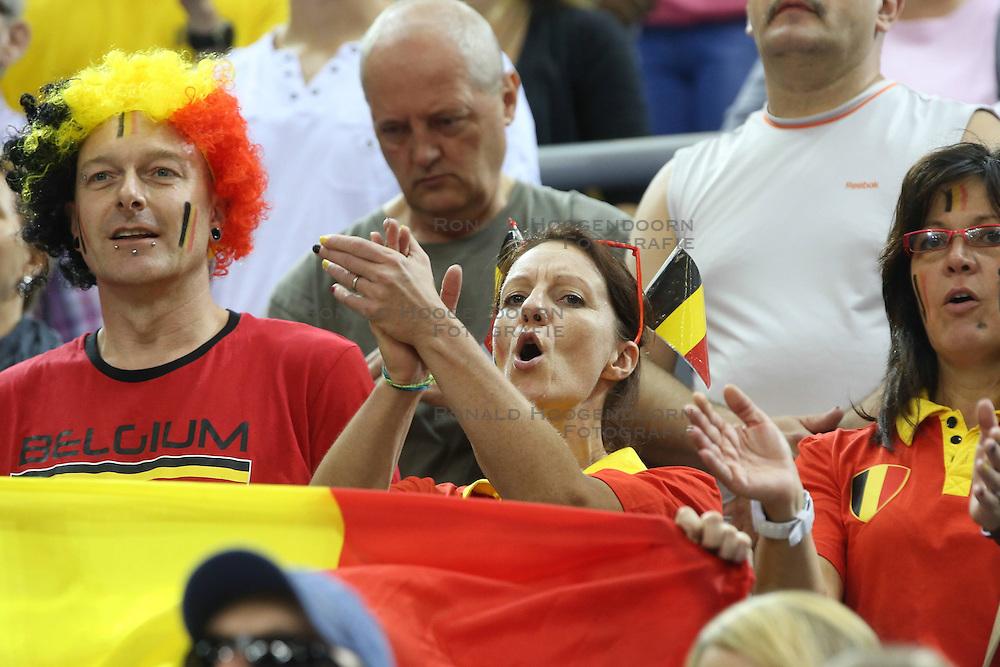 07.09.2014, Krakow Arena, Krakau, POL, FIVB WM, Frankreich vs Belgien, Gruppe D, im Bild KIBICE BELGIA // during the FIVB Volleyball Men's World Championships Pool D Match beween France and Belgium at the Krakow Arena in Krakau, Poland on 2014/09/07.<br /> <br /> ***NETHERLANDS ONLY***