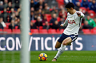 Son Heung-min of Tottenham Hotspur scores his team's fourth goal. Premier league match, Tottenham Hotspur v Southampton at Wembley Stadium in London on Boxing Day Tuesday 26th December 2017.<br /> pic by Steffan Bowen, Andrew Orchard sports photography.