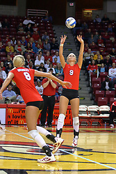 09 October 2009: Skylar Lesan sets the ball for an attack. The Redbirds of Illinois State defeated the Braves of Bradley in 3 sets during play in the Redbird Classic on Doug Collins Court inside Redbird Arena in Normal Illinois