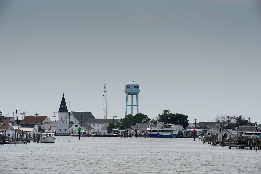 August 4, 2017 - Tangier Island, VA - A view of Tangier Island from the approach of the ferry from Crisfileld, Maryland. Photo by Susana Raab/Institute