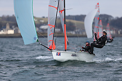 Day 1 of the RYA Youth National Championships 2013 held at Largs Sailing Club, Scotland from the 31st March - 5th April. ..1196, Charlotte HOOPER, Molly BROWN, Royal Burnham YC, 29er..For Further Information Contact..Matt Carter.Racing Communications Officer.Royal Yachting Association.M: 07769 505203.E: matt.carter@rya.org.uk ..Image Credit Marc Turner / RYA..