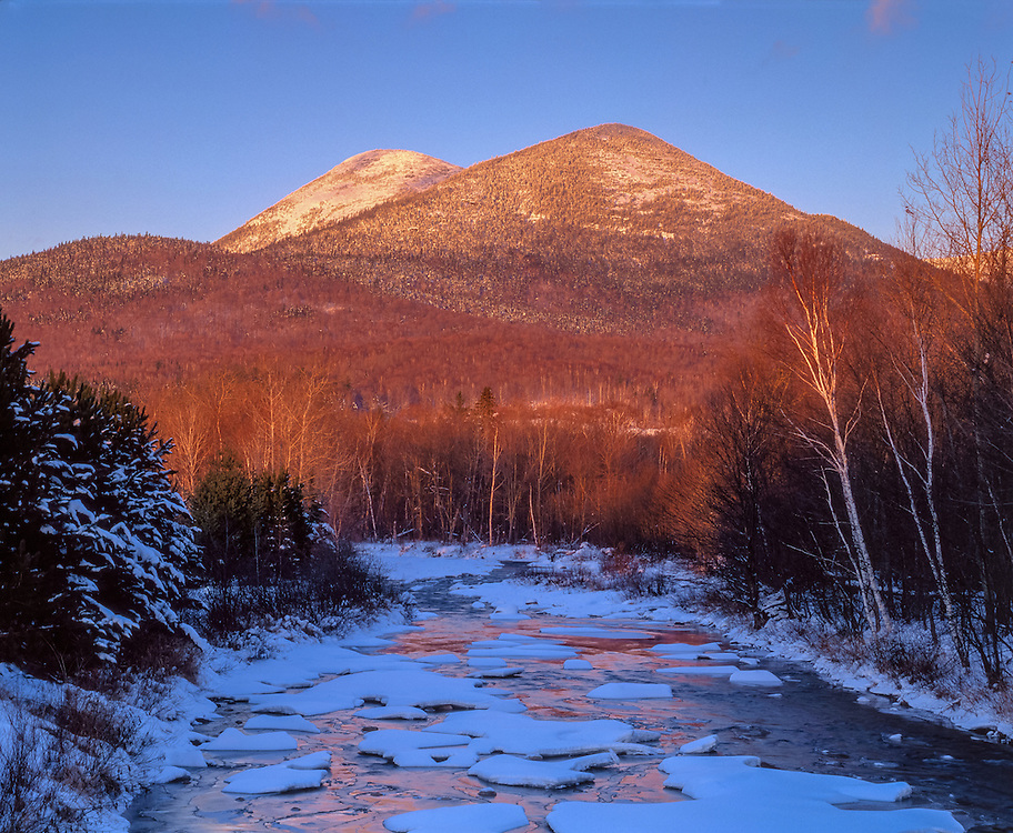 Snow covered Percy Peaks overlook ice & water patterns in Nash Stream, Nash Stream Forest, Stark, NH