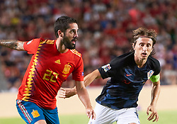 September 11, 2018 - Elche, U.S. - ELCHE, SPAIN - SEPTEMBER 11: Isco of Spain and Luka Modric of Croatia looks during the UEFA Nations League A Group four match between Spain and Croatia on September 11, 2018, at Estadio Manuel Martinez Valero in Elche, Spain. (Photo by Carlos Sanchez Martinez/Icon Sportswire) (Credit Image: © Carlos Sanchez Martinez/Icon SMI via ZUMA Press)