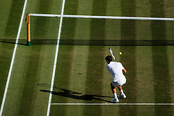 July 7, 2018 - London, England, U.S. - LONDON, ENG - JULY 07: NOVAK DJOKOVIC (SRB) during day six match of the 2018 Wimbledon on July 7, 2018, at All England Lawn Tennis and Croquet Club in London,England. (Photo by Chaz Niell/Icon Sportswire) (Credit Image: © Chaz Niell/Icon SMI via ZUMA Press)