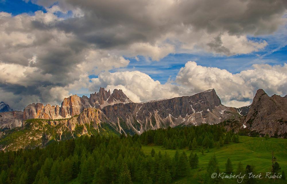 The Dolomite Mountains, near Cortina d'Ampezzo, Italy. View of Lastoni di Formin and Croda da Lago, from Cinque Torri.