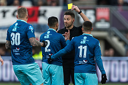 referee Pol van Boekel gives a yellow card to Khalid Karami of Excelsior (M) during the Dutch Eredivisie match between Sparta Rotterdam and sbv Excelsior at the Sparta stadium Het Kasteel on January 21, 2018 in Rotterdam, The Netherlands