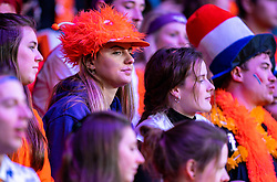 Dutch support during the match against Aljaksandra Sasnovich in the Fed Cup qualifier against Belarus in Sportcampus Zuiderpark, The Hague, Netherlands