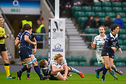 Twickenham, Surrey. UK.  Cambridge, centre, Mary COLMAN, running with the ball as the  Oxford defence take her, to ground, during the 2017 Women's Varsity Rugby Match, Oxford vs Cambridge Universities. RFU Stadium, Twickenham. Surrey, England.<br /> <br /> Thursday  07.12.17  <br /> <br /> [Mandatory Credit Peter SPURRIER/Intersport Images]