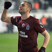 Trabzonspor's Burak YILMAZ celebrate his goal during their Turkish Superleague Derby match Besiktas between Trabzonspor at the Inonu Stadium at Dolmabahce in Istanbul Turkey on Sunday, 06 March 2011. Photo by TURKPIX