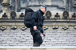 © Licensed to London News Pictures. 08/02/2017. Hull UK. Picture shows armed police on the roof of Hull town hall during a visit by HRH Prince Charles & the Duchess of Cornwall who where visiting the newly opened Ferens Art Gallery in Hull as part of a Royal tour of the city of culture. Photo credit: Andrew McCaren/LNP