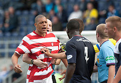 Hamilton's Mickeal Antoine-Curier booked after tussle with Falkirk's Ollie Durojaiye.<br /> half time : Falkirk 0 v  0 Hamilton, Scottish Championship 31/8/2013.<br /> ©Michael Schofield.