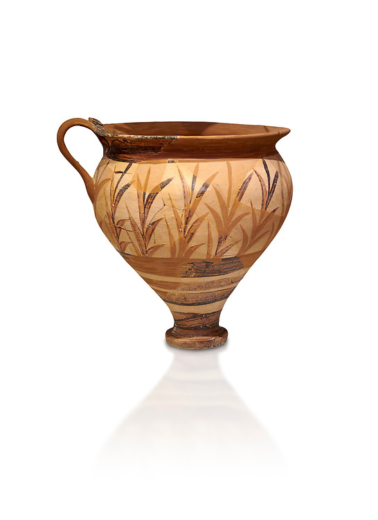 Minoan decorated cup with foliage, Archanes Palace  1600-1450 BC; Heraklion Archaeological  Museum, white background. .<br /> <br /> If you prefer to buy from our ALAMY PHOTO LIBRARY  Collection visit : https://www.alamy.com/portfolio/paul-williams-funkystock/minoan-art-artefacts.html . Type -   Heraklion   - into the LOWER SEARCH WITHIN GALLERY box. Refine search by adding background colour, place, museum etc<br /> <br /> Visit our MINOAN ART PHOTO COLLECTIONS for more photos to download  as wall art prints https://funkystock.photoshelter.com/gallery-collection/Ancient-Minoans-Art-Artefacts-Antiquities-Historic-Places-Pictures-Images-of/C0000ricT2SU_M9w