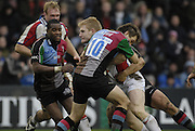 Twickenham, GREAT BRITAIN, Bristol, Lee ROBINSON attemt's to drive through Adrian JARVIS's tackle, throughduring the Guinness Premieship match, NEC Harlequins vs Bristol Rugby, at the Twickenham Stoop Stadium, England, on Sat 24.02.2007  [Photo, Peter Spurrier/Intersport-images].
