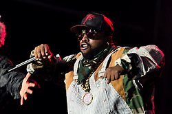 """© Licensed to London News Pictures. 05/09/2014. Isle of Wight, UK. Outkast performing live at Bestival 2014 Day 2 Friday.  In this picture - Antwan """"Big Boi"""" Patton.  Outkast are a hip hop duo consisting of rappers André """"André 3000"""" Benjamin and Antwan """"Big Boi"""" Patton.  This weekend's headliners include Chic featuring Nile Rodgers, Foals and Outcast.   Bestival is a four-day music festival held at the Robin Hill country park on the Isle of Wight, England. It has been held annually in late summer since 2004.    Photo credit : Richard Isaac/LNP"""