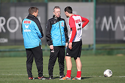 24.01.2014, Maxx Royal, Belek, TUR, FS Vorbereitung, 1. FC Koeln, Trainingslager, im Bild Mato Jajalo (1 FC Koeln #19) im Gespraech mit Trainer Peter Stoeger (1 FC Koeln), Co-Trainer Manfred Schmid (1 FC Koeln) // during a practice session at the training camp of the German 2nd Bundesliga Club 1. FC Koeln at the Maxx Royal in Belek, Turkey on 2014/01/24. EXPA Pictures © 2014, PhotoCredit: EXPA/ Eibner-Pressefoto/ Schueler<br /> <br /> *****ATTENTION - OUT of GER*****