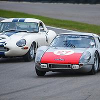 Royal Automobile Club Tourist Trophy, Official Practice, Saturday 10h55<br /> #27 - 1965 Porsche 904 Carrera GTS; #4 – 1963 Jaguar E-type lightweight at Goodwood SpeedWeek 16 - 18 October 2020