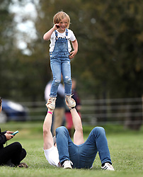 Zara Tindall and Mike Tindall are seen enjoying a day out at the Burghley Horse Trials with their daughter Mia. The happy family were joined by Zara's mum, Princess Anne and dad Mark Philips.<br />