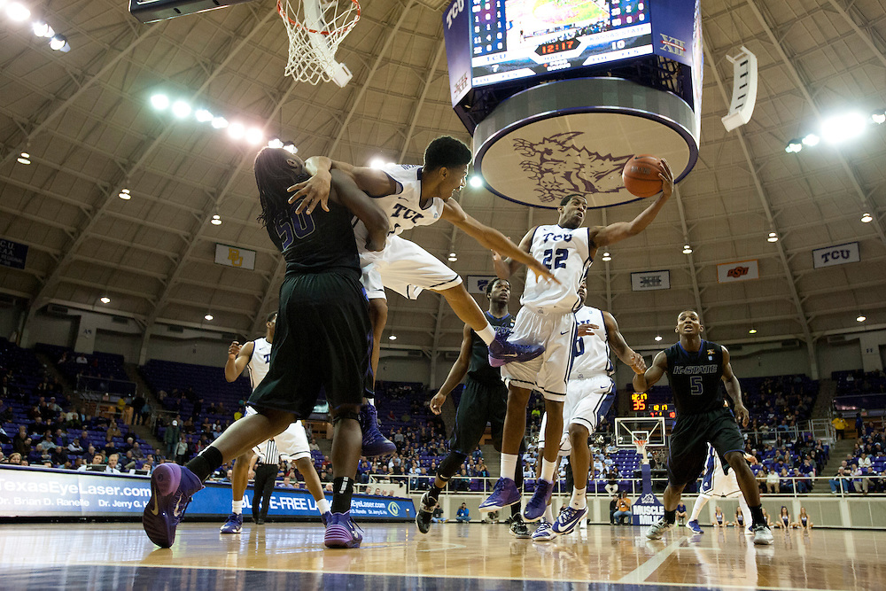 FORT WORTH, TX - JANUARY 7: Jarvis Ray #22 of the TCU Horned Frogs rebounds the ball against the Kansas State Wildcats on January 7, 2014 at Daniel-Meyer Coliseum in Fort Worth, Texas.  (Photo by Cooper Neill/Getty Images) *** Local Caption *** Jarvis Ray