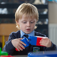 Jack Greene plays with the buiding blocks on his first day at Liscannor school