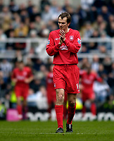 Photo: Jed Wee.<br /> Newcastle United v Liverpool. The Barclays Premiership. 19/03/2006.<br /> <br /> Liverpool's Dietmar Hamann, formerly a Newcastle player, applauds their opening goal.