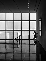 On the stairs at MoMA, New York City.