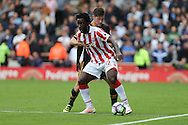 Wilfried Bony of Stoke City protects the ball from Ben Davies of Tottenham.. Premier league match, Stoke City v Tottenham Hotspur at the Bet365 Stadium in Stoke on Trent, Staffs on Saturday 10th September 2016.<br /> pic by Chris Stading, Andrew Orchard sports photography.