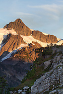 The summit of Mount Shuksan photographed from Kulshan Ridge in the Mount Baker-Snoqualmie National Forest, Washington State, USA
