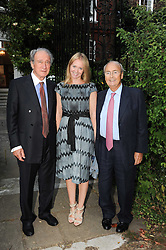 Left to right, SIR MARK WEINBERG, KATE REARDON and NED RYAN leaving a summer party hosted by Lady Annabel Goldsmith at her home Ormeley Lodge, Ham Gate, Richmond on 13th July 2010.