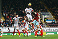 Ishmael Miller of Huddersfield town heads the ball clear from a corner. Skybet football league Championship match, Burnley v Huddersfield Town at Turf Moor in Burnley ,Lancs on Saturday 31st October 2015.<br /> pic by Chris Stading, Andrew Orchard sports photography.