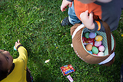 Hundreds of children collect dyed eggs and candy during the Easter Egg Hunt at Christ Community Church in Milpitas, California, on March 30, 2013. (Stan Olszewski/SOSKIphoto)