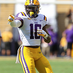 Sep 26, 2020; Baton Rouge, Louisiana, USA; LSU Tigers linebacker Damone Clark (18) against the Mississippi State Bulldogs during the first half at Tiger Stadium. Mandatory Credit: Derick E. Hingle-USA TODAY Sports