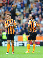 Hull City's James Chester, left, and Hull City's Abel Hernandez at the final whistle after their sides relegation from the Barclays Premier League is confirmed<br /> <br /> Photographer Chris Vaughan/CameraSport<br /> <br /> Football - Barclays Premiership - Hull City v Manchester United - Sunday 24th May 2015 - Kingston Communications Stadium - Hull<br /> <br /> © CameraSport - 43 Linden Ave. Countesthorpe. Leicester. England. LE8 5PG - Tel: +44 (0) 116 277 4147 - admin@camerasport.com - www.camerasport.com