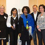 NLD/Amsterdam//20140319 - Presentatie House of Mandela wijnen, Yvonne Klaassen, Makaziwe Mandela en kleindochter Tukwini Mandela en Peter d' Angremond