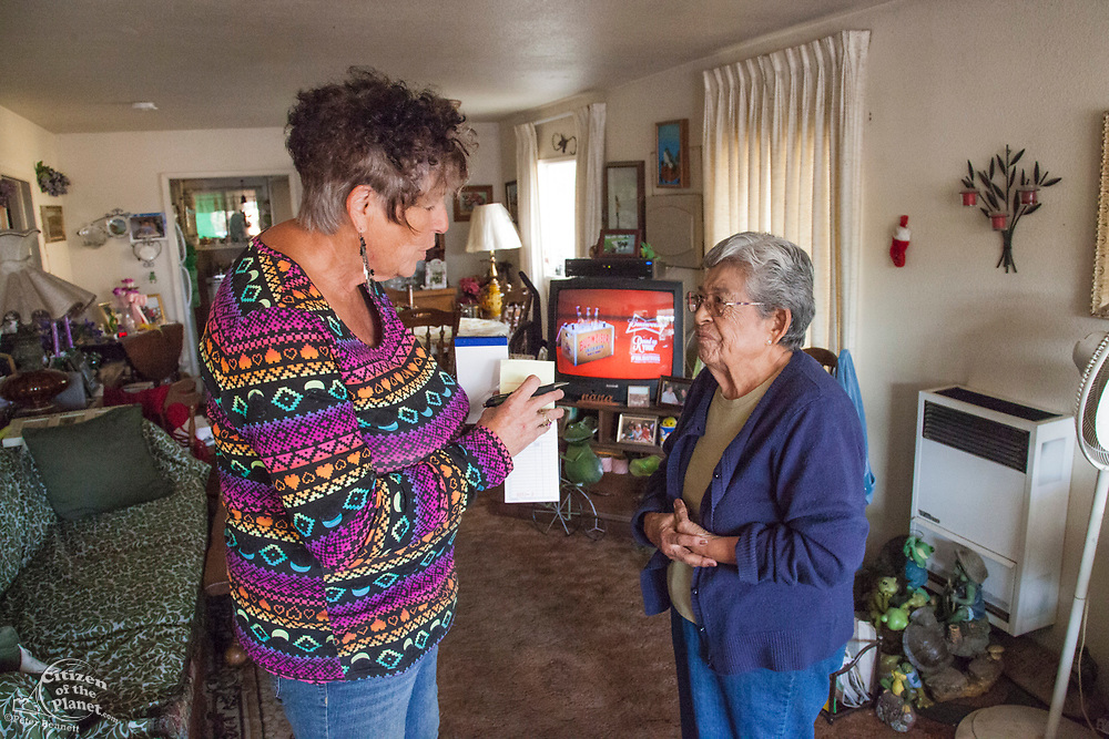 Donna Johnson, a 72 year old resident of East Porterville, a small town at the eastern edge of the Central Valley, has been delivering water on an almost daily basis to many of her fellow townsfolk who had run out of water. Last June many of the towns wells started to run dry as a result of the severe drought conditions in the area. Tulare County, California, USA