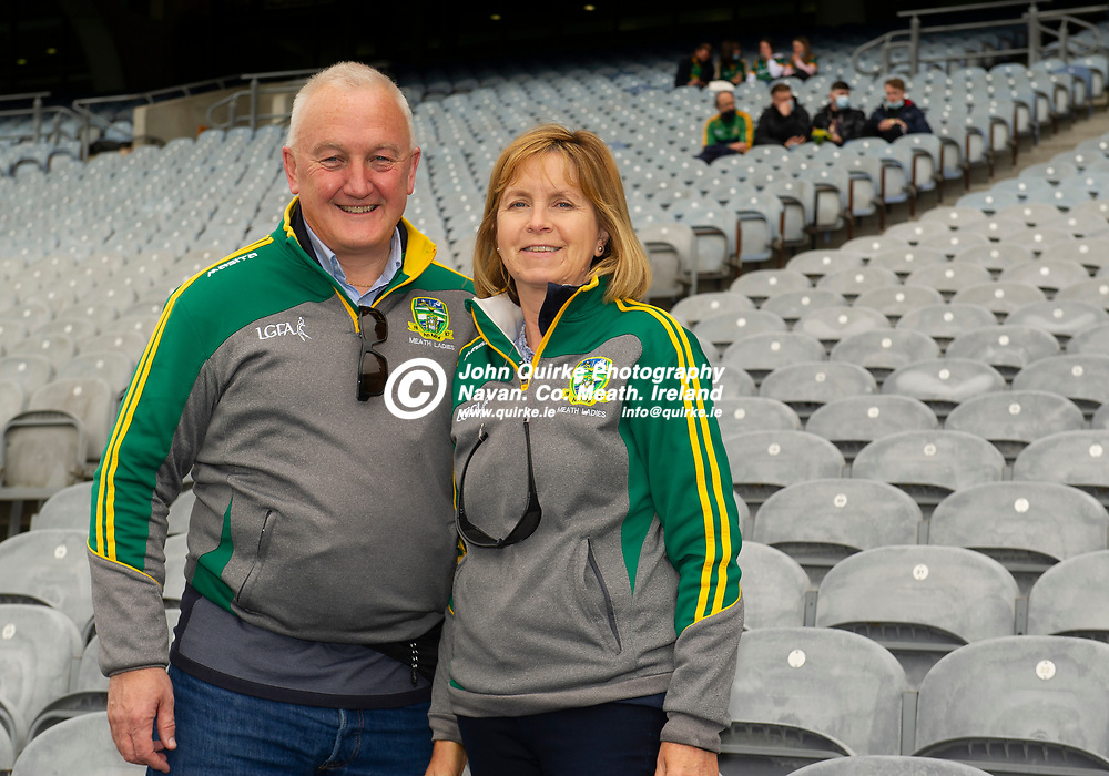 26-06-21. Meath v Kerry - Lidl Ladies National Football League Division 2 Final at Croke Park.<br /> Tom and Caroline Wall from Dunboyne supporting the Meath Ladies.<br /> Photo: John Quirke / www.quirke.ie<br /> ©John Quirke Photography, 16 Proudstown Road, Navan. Co. Meath. (info@quirke.ie / 046-9028461 / 087-2579454).