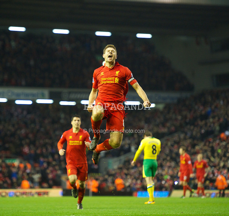 LIVERPOOL, ENGLAND - Saturday, January 19, 2013: Liverpool's captain Steven Gerrard celebrates scoring the fourth goal against Norwich City during the Premiership match at Anfield. (Pic by David Rawcliffe/Propaganda)