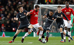Manchester United's Juan Mata (centre) in action with CSKA Moscow's Alexandr Golovin (left) and Coelho Vitinho during the UEFA Champions League match at Old Trafford, Manchester.