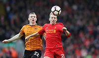 Football - 2016 / 2017 FA Cup - Fourth Round: Liverpool vs. Wolverhampton Wanderers<br /> <br /> Matt Doherty of Wolverhampton Wanderers  and Lucas Leiva of Liverpool during the match at Anfield.<br /> <br /> COLORSPORT/LYNNE CAMERON