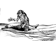 The Monkey and the Dolphin from the book ' Aesop's fables ' Published in 1912 in London by Heinemann and in  New York by Page Doubleday Illustrated by Arthur Rackham,