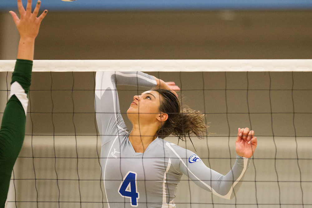 Karolina Serhan, of Colby College, during an NCAA Division III volleyball match against The University of Maine at Fort Kent at The Whitmore-Mitchell at Wadsworth Gymnasium, Saturday Sep. 6, 2014 in Waterville, ME.  (Dustin Satloff/Colby College Athletics)