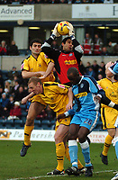 Photo: Tony Oudot.<br />Wycombe Wanderers v Notts County. Coca Cola League 2. 10/02/2007.<br />Wycombe keeper Jamie Young saves from a corner