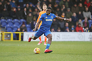 AFC Wimbledon defender Deji Oshilaja (4) clearing the ball during the EFL Sky Bet League 1 match between AFC Wimbledon and Northampton Town at the Cherry Red Records Stadium, Kingston, England on 10 February 2018. Picture by Matthew Redman.